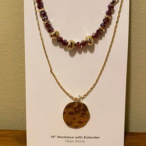 Glass Stone 16' Necklace w/ Extender NWT